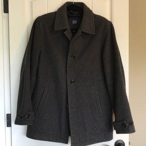 Men's GAP Wool Pea Coat Dark Gray Warm